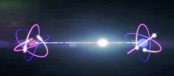 This image shows a visualization of quantum entanglement, where two atoms are shown to have a line connecting them.