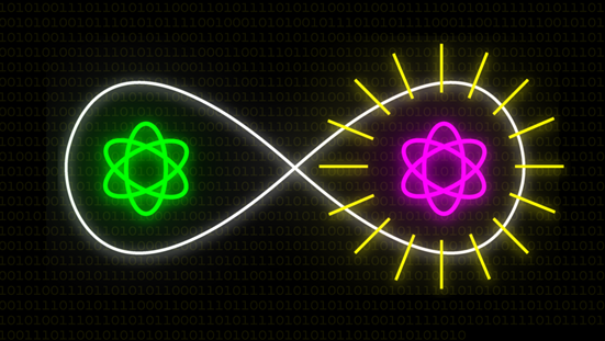 This image shows a visualization of quantum communication between two qubits.